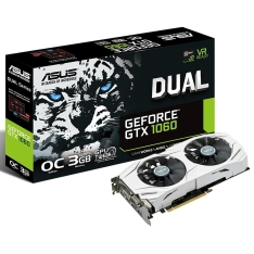 Placa de vídeo VGA ASUS Geforce GTX1060 3Gb GDDR5, 192-Bits, VR Ready, Auto-Extreme, Wing-Blade Fans, DVI/2-HDMI/2-DP, DUAL-GTX1060-O3G