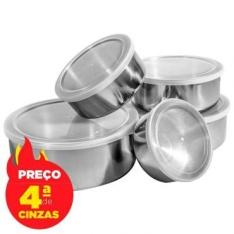 Conjunto de 5 Potes e Tigelas Organizadoras com Tampa Por R$20