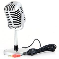 Microfone estilo vintage cabo de pano  PC e notebook (Frete grátis)