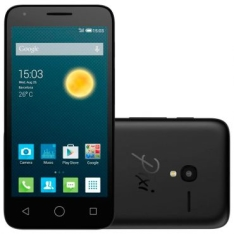 "Smartphone Alcatel PIXI3 4.5"" OT5017 Preto - 4G, Tela 4.5"", Câmera 8MP + Frontal, Quad Core, 8GB, 1GB RAM, Android 5.1 - R$329"