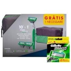 COMPRE Aparelho de Barbear Gillette Mach3 Sensitive + 10 Cargas e GANHE Necessaire por R$ 70