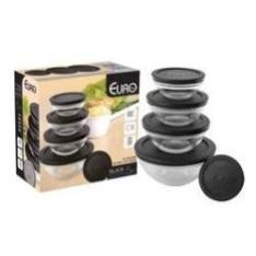 Conjunto de Potes de Vidro Euro Home 5 Peças VDR3008-PT com Tampa Preto - R$18