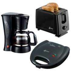 Kit Lenoxx: Cafeteira PCA+ Torradeira + Sanduicheira PSD 113: 750W, Antiaderente - PKC 551 - R$139