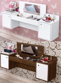 Penteadeira 2 Portas Com Espelho Atração - Móveis Albatroz Branco Texturizado - R$199