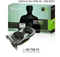 Placa de Vídeo Galax GeForce Gtx 1060 Oc - 3Gb Ddr5