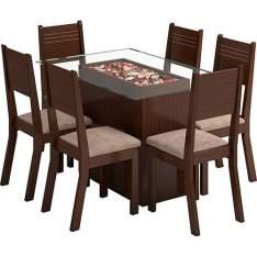 Sala de Jantar Monaco Mesa com 6 Cadeiras Choco/Canela - 549,99
