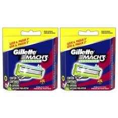 Kit 2 Cartuchos Gillette Mach3 (12 Cargas) + Cashback de 30%