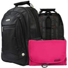 Mochila p/ Notebook + Necessaire com 6 Divisórias c/ Cabide e Organizadores Fuchsia - R$60