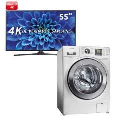 "Smart TV LED 55"" Ultra HD 4K Samsung 55KU6000 + Lavadora de Roupas Samsung WF106U4SAWQ Branca - 10,1 Kg - R$4999"