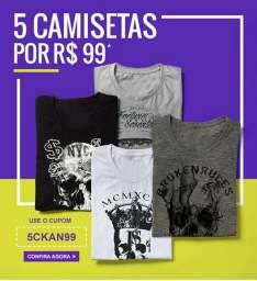 Promoção Padrão 5 camisetas masculinas por R$99
