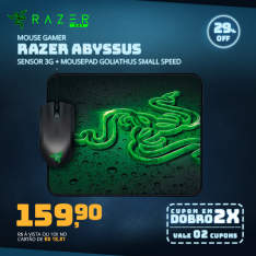 Mouse Gamer Razer Abyssus Sensor 3G Com Mousepad Goliathus Small Speed por R$ 160
