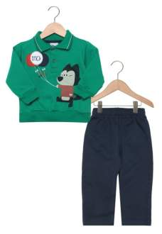 Conjunto Trick Longo Leve Baby Menino Verde/Azul R$50