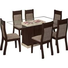 Conjunto de Mesa de Jantar Egito com 6 Cadeiras Choco/Suede Canela - Viero Moveis por R$ 560
