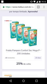 [Super Cashback] Fralda Pampers P/M/G/XX/XXG a partir de  - R$120