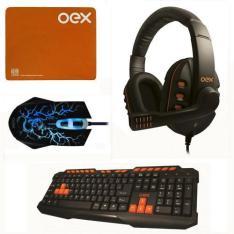 Kit Gamer Oex Action - Teclado Tc200 + Mouse Ms-300 + Fone Headset Hs200 + Mousepad por R$ 170.