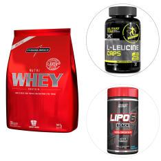 Kit Nutri Whey Protein 907 G Refil - IntegralMédica + Lipo 6 Black Ultra Concentrado + BCAA - R$150