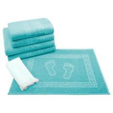 Jogo de Banho 6 peças Toalhas 100% Algodão 250 g/m² Linha Nuance Azul - Teka - R$29,90