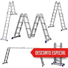 Escada Multifuncional 4X4 em Alumínio 16 Degraus - R$270