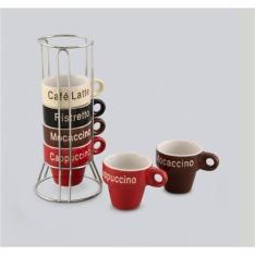 Jogo 6 Xícaras De Café De Porcelana 70ml Name Com Suporte - R$39
