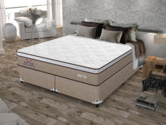Cama Box (Box + Colchão) Queen Size Molas - Ensacadas/Pocket 65cm de Altura Plumatex Ópus - R$799
