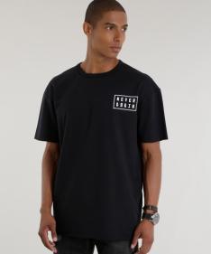 camiseta longa em moletom preta - 29,99