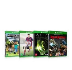 Kit com 4 Jogos para Xbox One Minecraft Edição Favorite Packs + Alien Isolation Nostromo Edition + Killer Instinct Definitive Edition + FIFA 15
