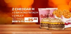 PROMOÇÃO 2 CHEDDAR M + BATATA FRITA M + 2 MILK P (REFRI M) R$ 25,00