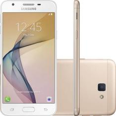 """Smartphone Samsung Galaxy J5 Prime Dual Chip Android 6.0 Tela 5"""" Quad-Core 1.4 GHz 32GB 4G Wi-Fi Câmera 13MP com Leitor de Digital - Dourado - R$712"""
