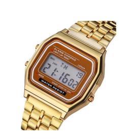 Relógio de Pulso Digital Alarme Cronômetro Aço Inoxidável R$49