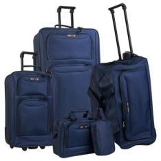 Conj.Malas 5 Pçs - 23, 28 e 24, Porta Laptop e Necessaire em Poliéster, Semi Rígida, 2 Rodas, Bolsos Frontal, Azul Marinho - Swiss - R$329