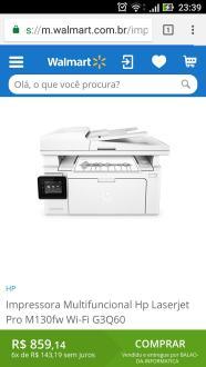 Impressora Multifuncional Hp Laserjet Pro M130fw Wi-Fi G3Q60