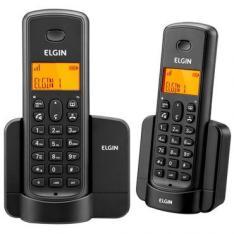 Telefone Elgin TSF8002 Preto sem fio + Ramal - identificador, Viva Voz, Agenda, 5 opções de campaínha display iluminado e agenda compartilhada - R$ 130