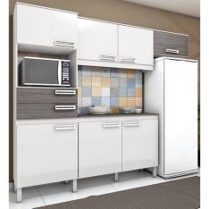 Cozinha Compacta Brizz B107 Com 7 Portas 2 Gavetas - Henn - Branco Com Cinza por R$ 427
