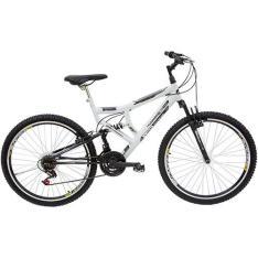 Bicicleta Life Zone LZ 400 Aro 26 21 Marchas Full Suspension - Branca - POR R$ 552,49