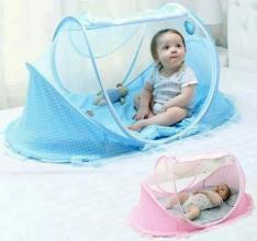 Berço Mosquiteiro Portátil Tenda Mosqueteiro Bebê Azul ou Rosa - R$100