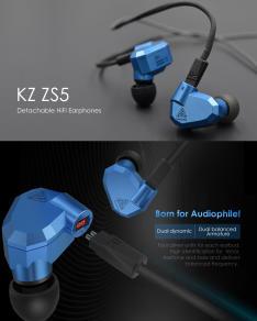 Earphones KZ ZS5 Detachable HiFi com MIC por R$ 73