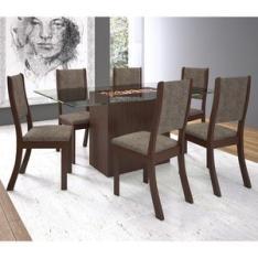 Conjunto Sala de Jantar Mesa e 6 Cadeiras Cereja Viero Choco/Canela - R$564