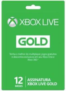 Cartão Xbox Live Gold 12 Meses Microsoft - R$ 130