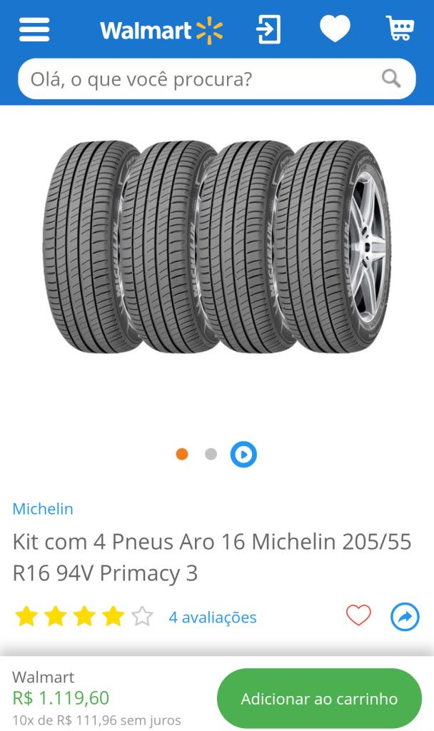 kit com 4 pneus aro 16 michelin 205 55 r16 94v primacy 3 r 1120 pelando. Black Bedroom Furniture Sets. Home Design Ideas