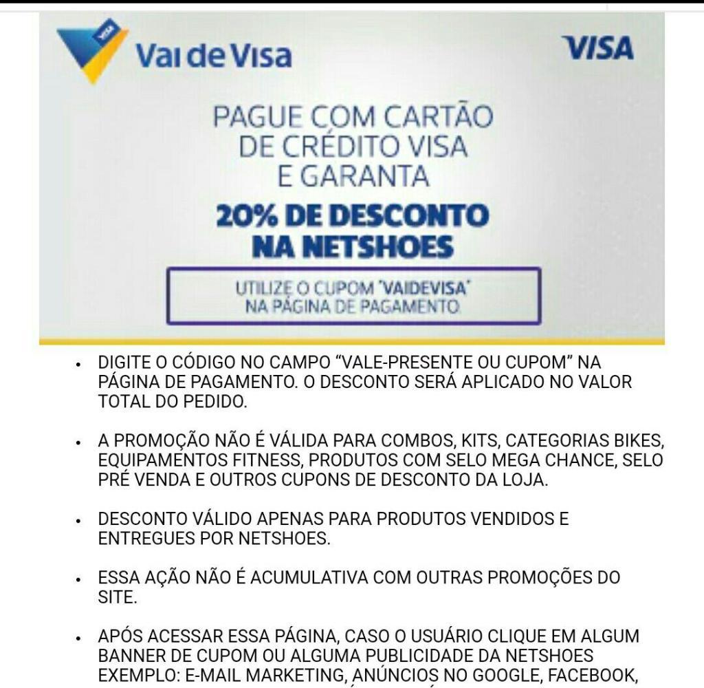 - 20% pagando com cartões VISA - Oferta Vai de Visa na Netshoes  e3d4fea78a0