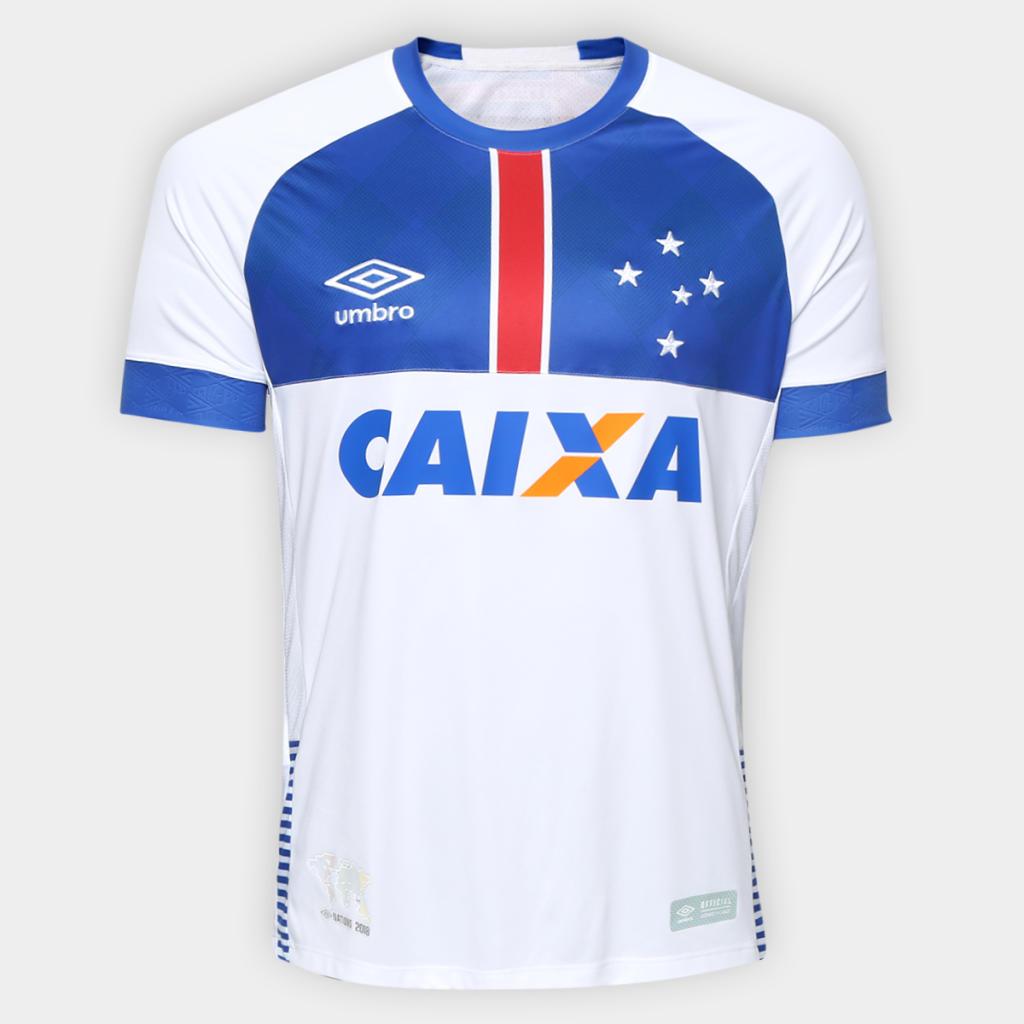 1ed02b7a09 Camisa Cruzeiro II 2018 s n° C  Patrocínio Blár Vikingur - Torcedor Umbro  Masculina - Branco e Azul