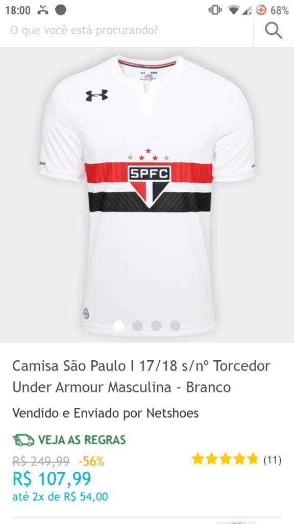 b38602e92 Camisa São Paulo I 17/18 s/nº Torcedor Under Armour Masculina - Branco |  Pelando