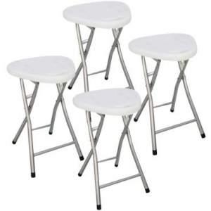 Conjunto de 4 Banquetas Dobráveis Set por R$65 - Base em Aço e Assento Resistente - Branco - UM02003 - Umobili