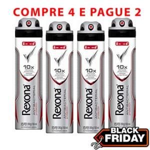 [EFACIL] Kit: Desodorante Men Antibacterial 4 unidades - Rexona - R$26