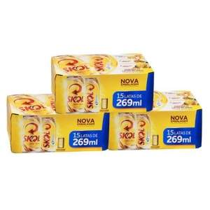[Extra]  Cerveja Skol 269Ml - 3 Caixas Com 15 Unidades - R$ 58