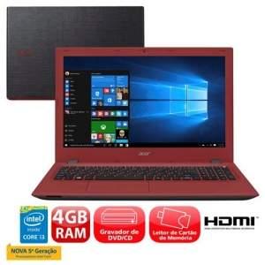 """[extra] Notebook Acer Aspire E5-573-36M9 com Intel® Core™ i3-5015U, 4GB, 500GB, Gravador de DVD, Leitor de Cartões, HDMI, Bluetooth, LED 15.6"""" e Windo"""