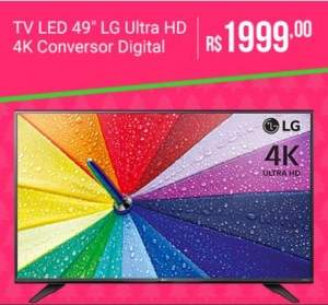 "[Sou Barato] TV LED 49"" LG 49UF6750 Ultra HD 4K com Conversor Digital 2 HDMI 1 USB 120Hz  por R$ 1999"