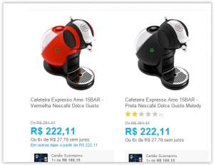 [Submarino] Cafeteira Expresso Arno 15BAR - Vermelha Nescafé Dolce Gusto Melody  por R$ 169