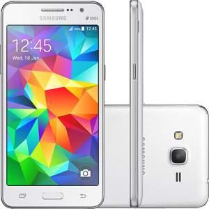 """[Shoptime] Smartphone Samsung Galaxy Gran Prime Duos Dual Chip Android Tela 5"""" Memória Interna 8GB - 3G Câmera 8MP - Branco por R$ 550"""