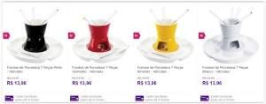 [Sou Barato] Fondue de Porcelana 7 Peças Preto/Vermelho/Amarelo/Branco - Hércules por R$ 14